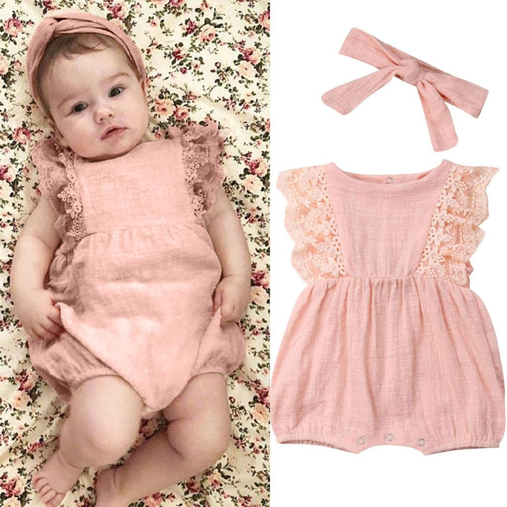 f1178516bada Rainbowroom 2019 Infant Kids Baby Girl Lace Ruffled Romper Bodysuit Hair  Band Outfit Summer