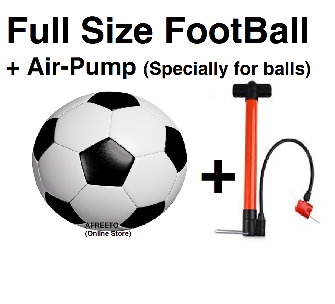 Football with air pump Large size foot ball + manual hand pump for footballs