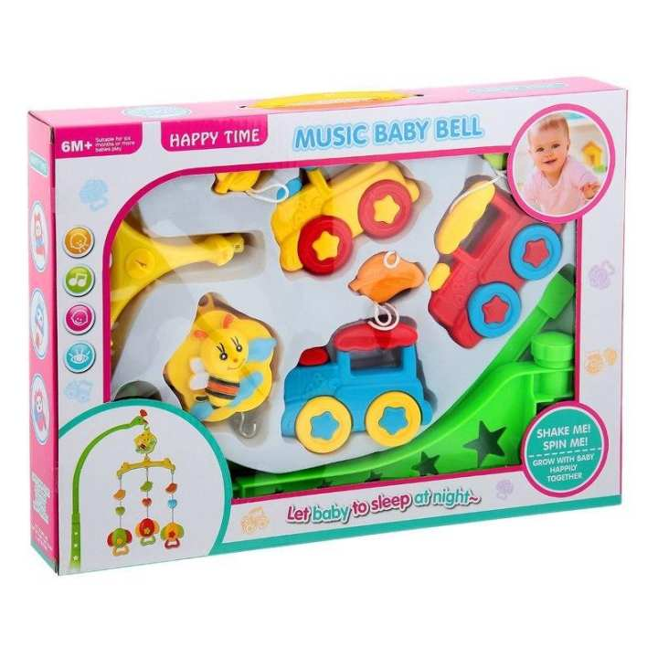 Rattle For Babies Musical Cot Mobile Happy Time Music Baby Bell