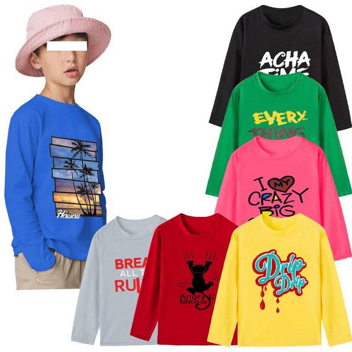 Bindas Collection 3 PCS Random Full Sleeves Printed T-shirts For Kids (Clearance Sale)