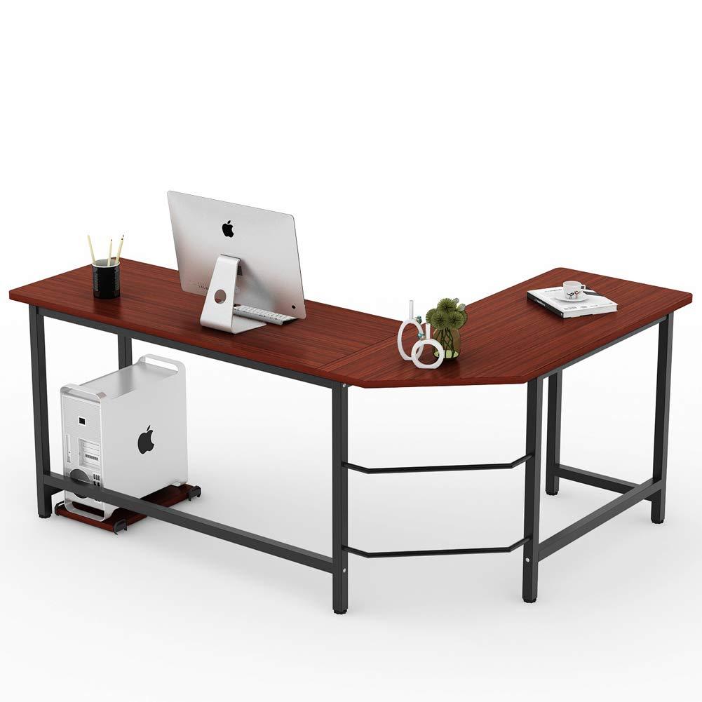 Modern L-Shaped Desk Corner Computer Laptop Study Table Workstation -Wood & Metal