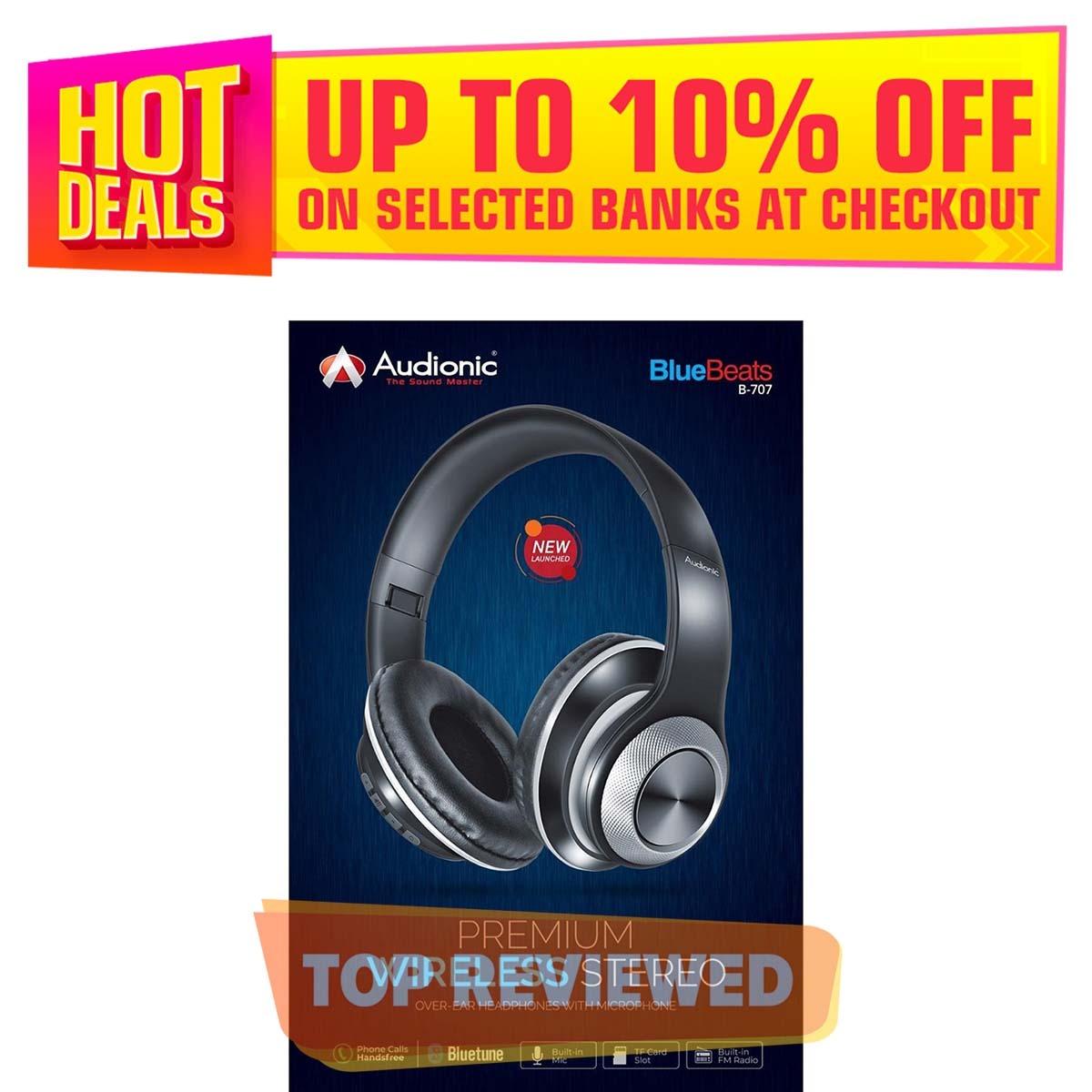 Audionic - Premium Wireless Stereo - HEADPHONE With Microphone (B-707)