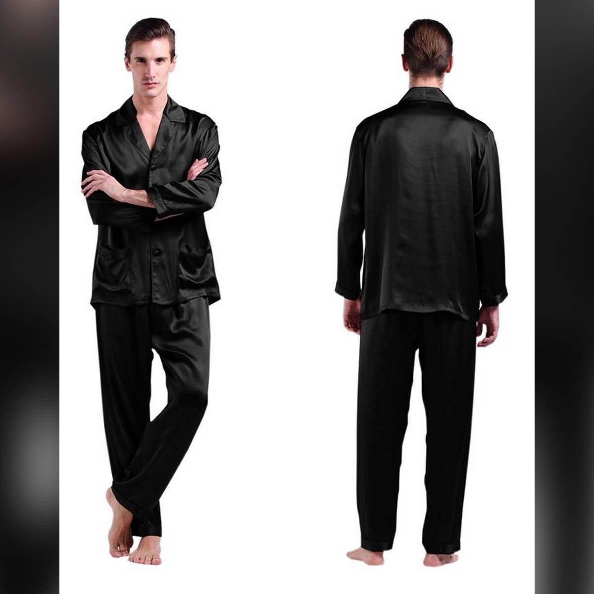 Classic Satin Long Sleeve Shirt & Pants Pajama Set For Men