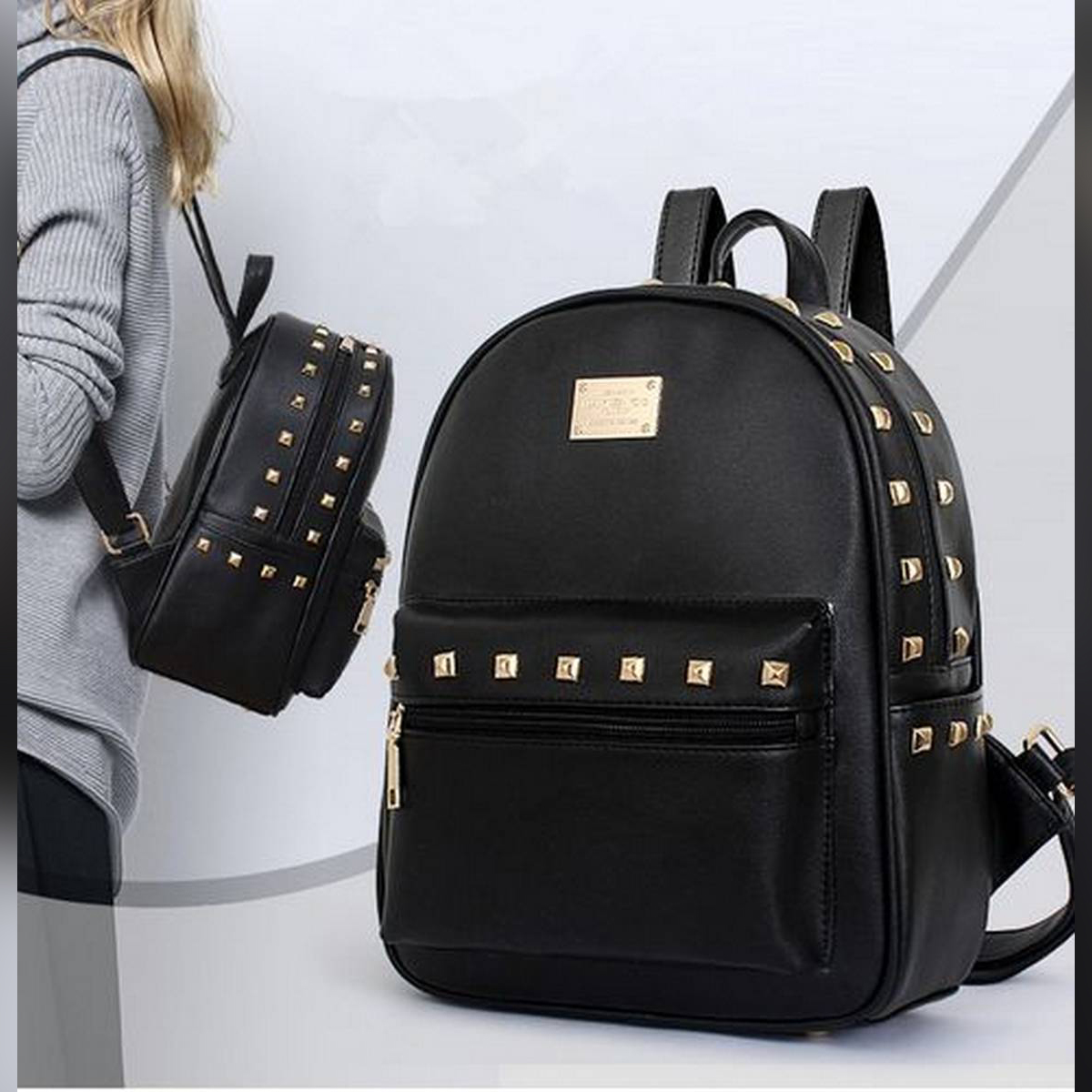 Leather Fancy and Stylish shoulder backpack, bags for school and college girls