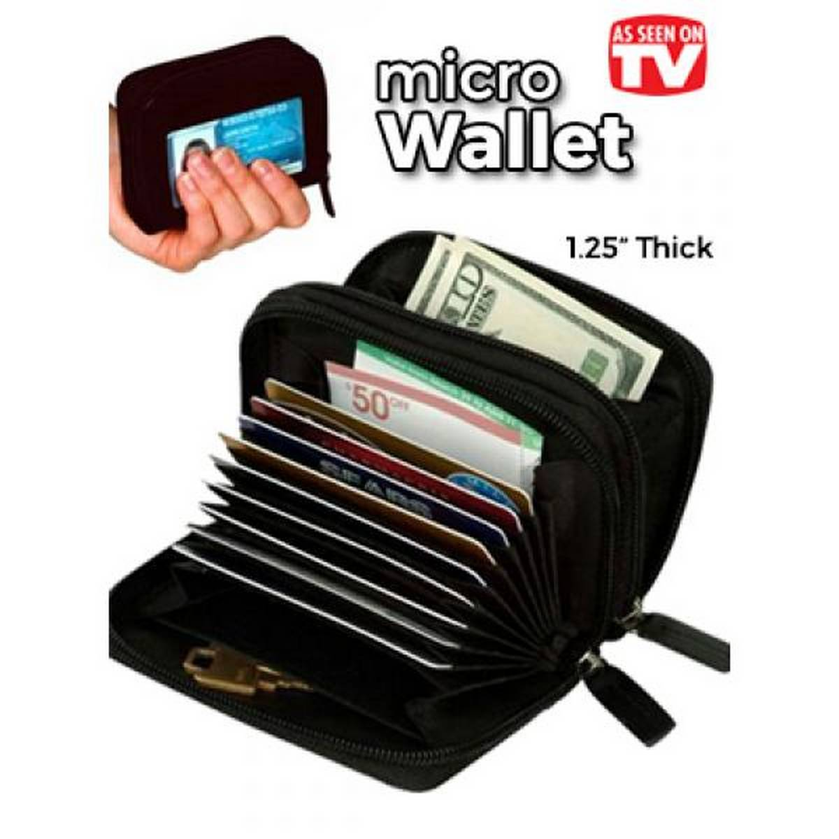 Leather Micro Wallet Credit Card And Money Holder