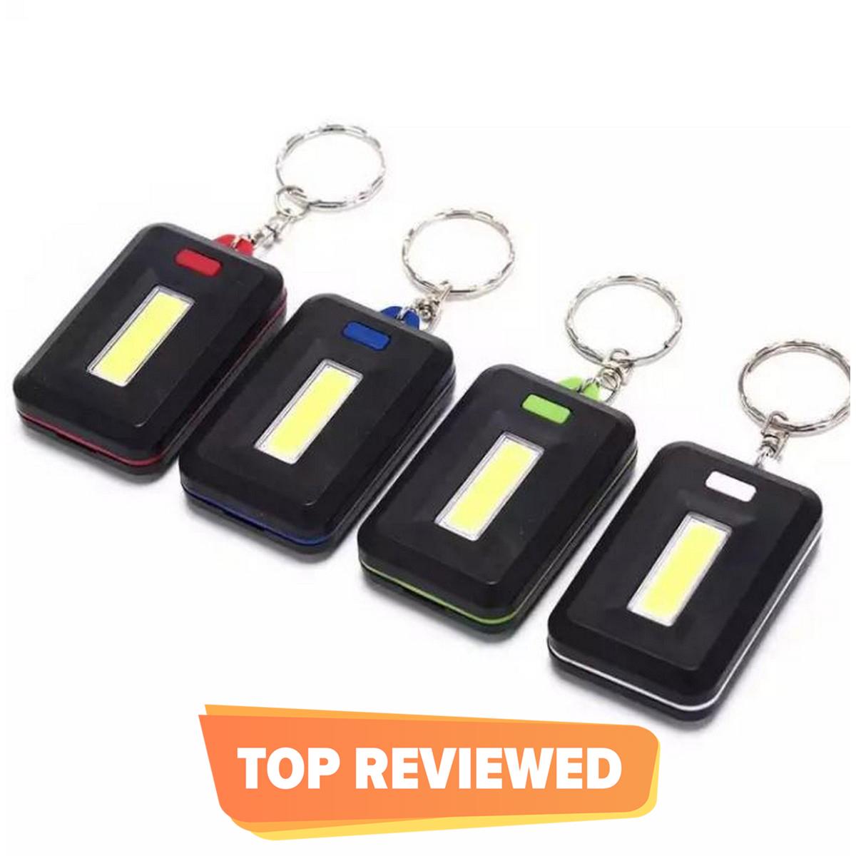 COB Mini Keychain Keyring Flashlight 3-Mode Waterproof Portable Torch Light Lamp White Led Light