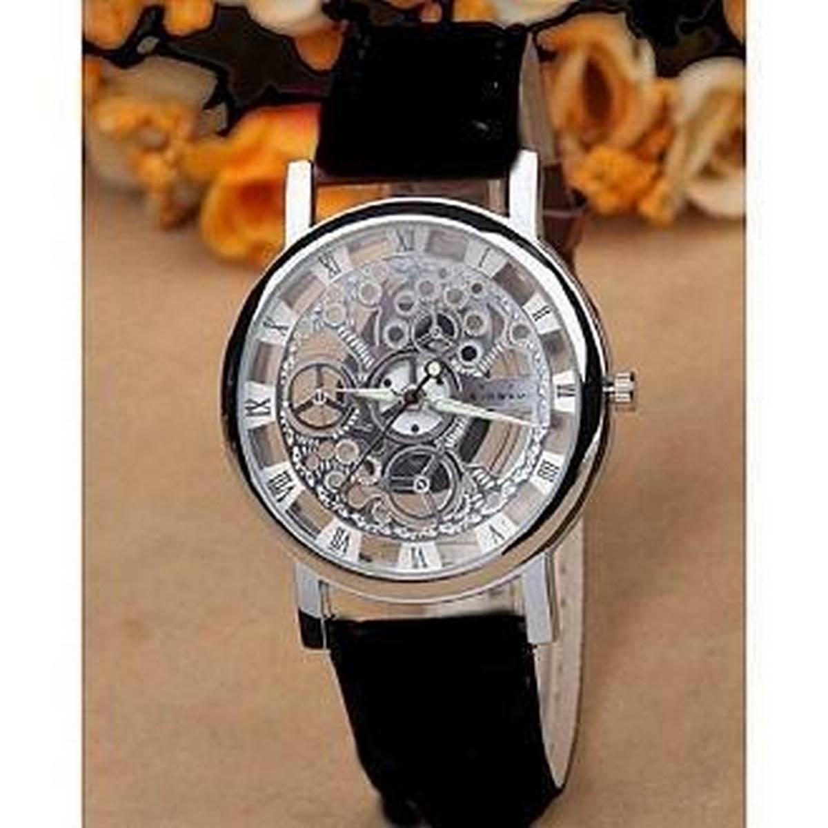 Luxury Smart Tourbillon Skeleton Luminous Clock Men Casual Leather Mechanical Wrist Watch