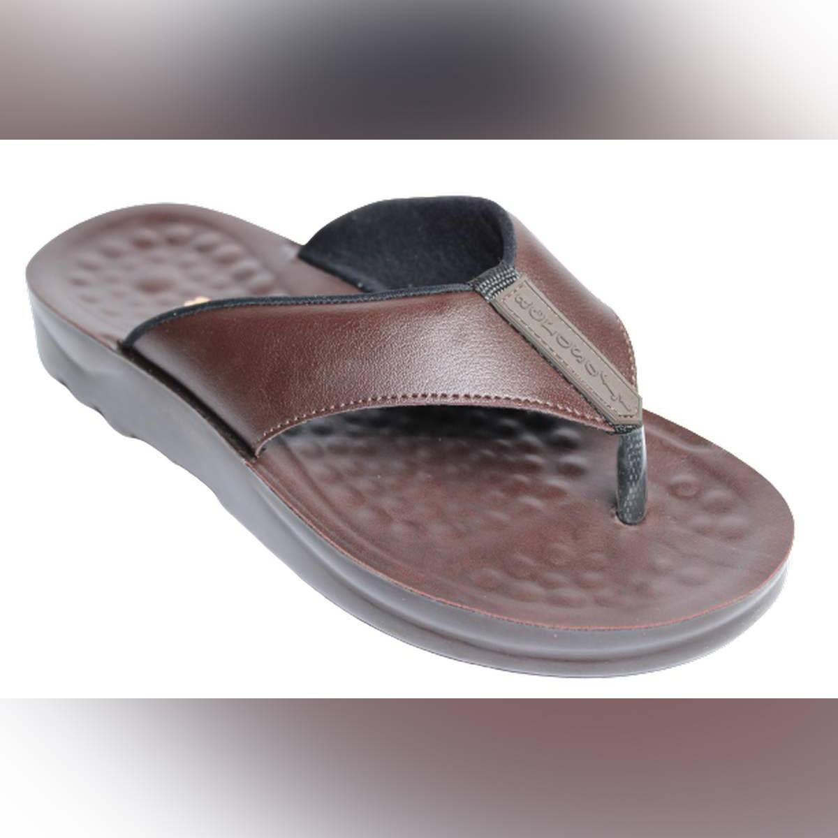 Aerosoft Brown Synthetic Leather Slippers For Men A5101