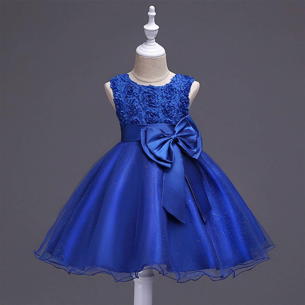 Baby Girls Bowknot Lace Flower Dress Girls Tulle Dress Kids Flower Princess  Birthday Party Dress Toddler Gown(Purple HEIGHT:110CM)