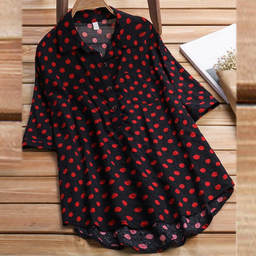 4a164d9ff70 Women Ladies Half Sleeve Polka Dot Loose Blouse Pullover Button Tops Shirt