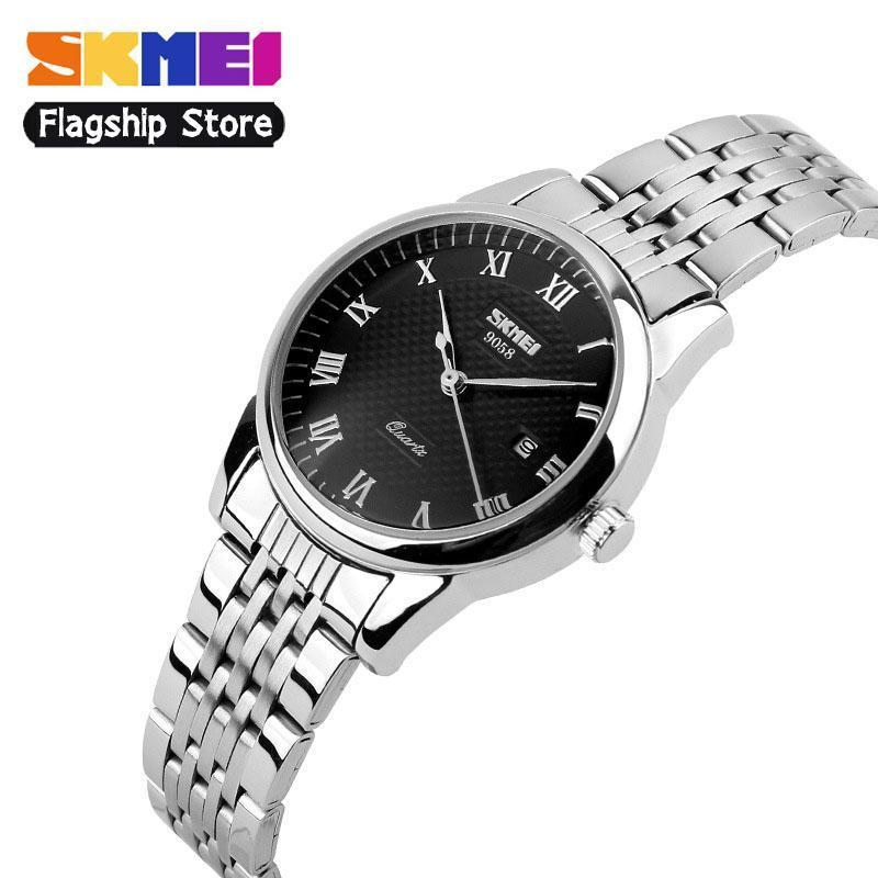 SKMEI Men Fashion Couple Watches Waterproof Quartz Watch Time Stainless  Steel Business Casual Wristwatches Jam tangan e0789b2627