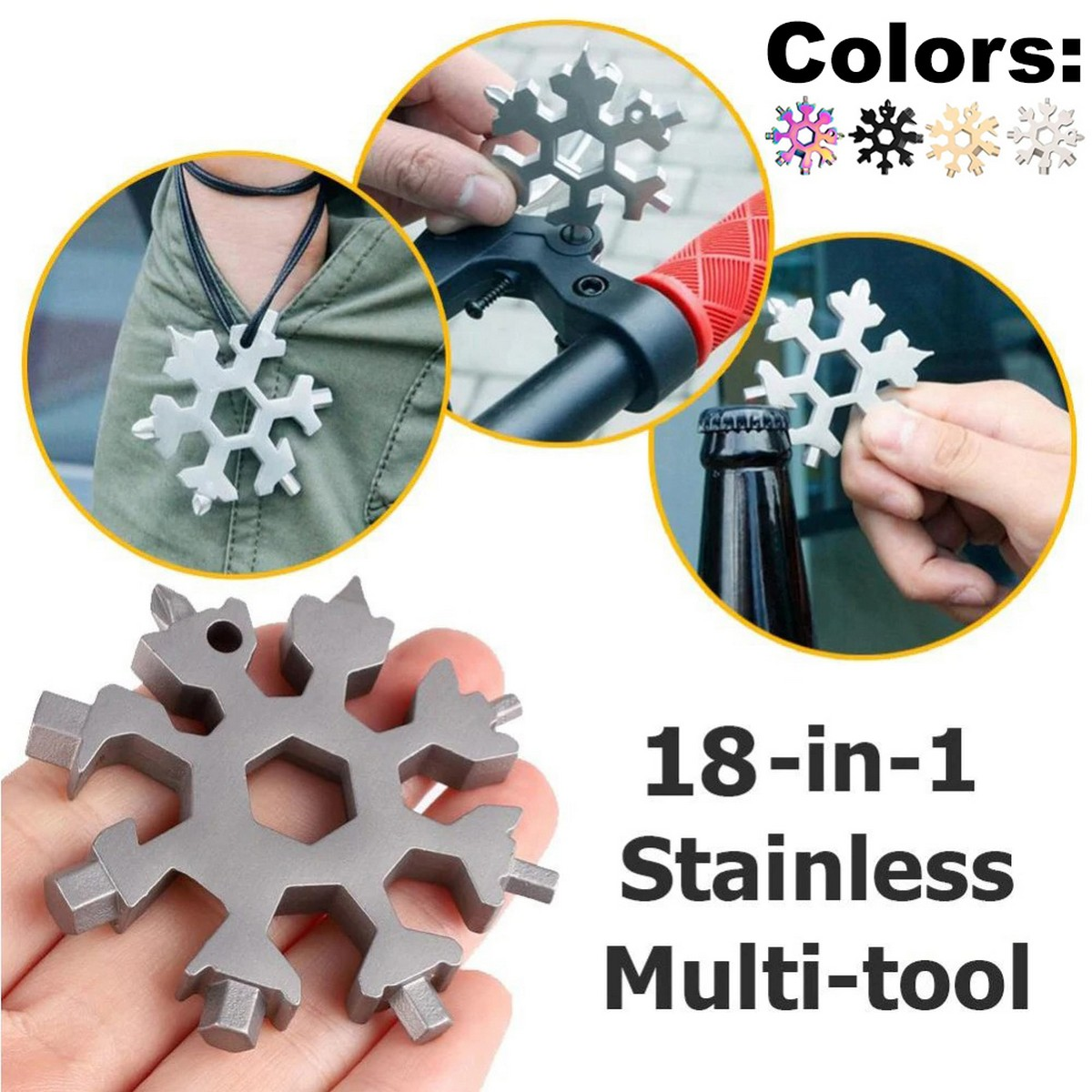 18 In 1 Snowflake Wrench Multi Tool Spanner Hex Multifunction Stainless Steel Survival Tools Screwdriver Bottle Opener Allen Key Keyring Pocket Portable EDC Keychain Compact Universal For Repairing Gadget Household Equipment Travel Hiking Cycling