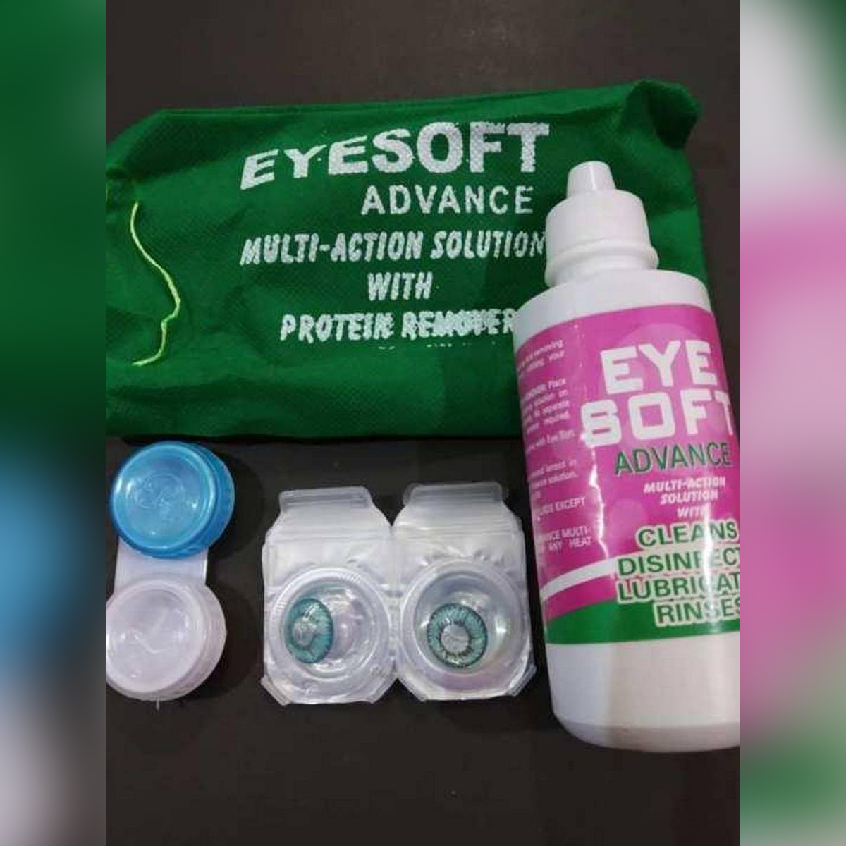 1 Pair of Soft Contact Color Lenses Eye Makeup - Blue Hazel Green Gray with FREE Lenses Solution, Container and Bag