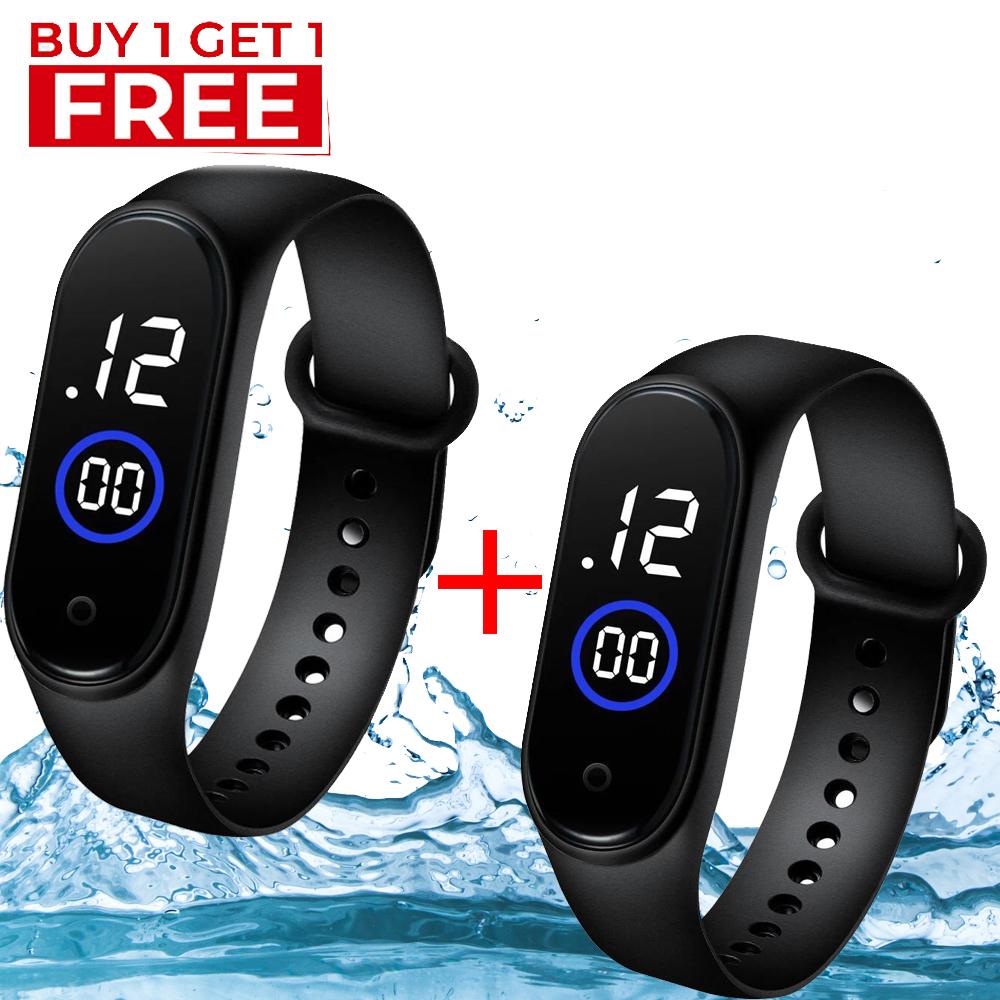 Pack of 2 - Waterproof Fitness Sport Watch For Men M4 - Touch Led Bracelet Digital Watch For Boys / Kids