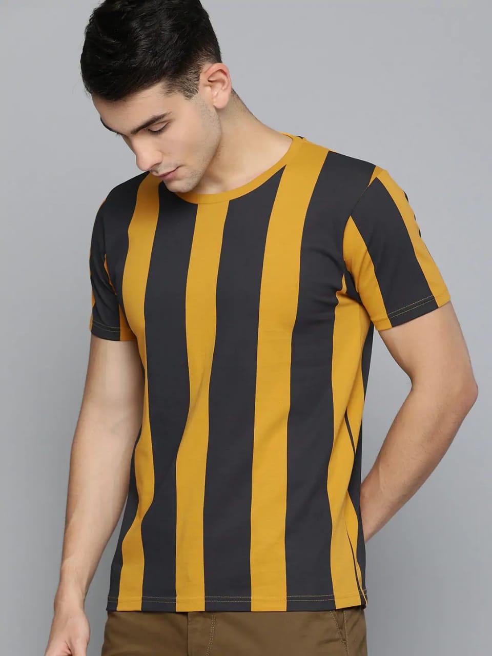 New Short Sleeve Strip Printed Summer Tshirt For Men