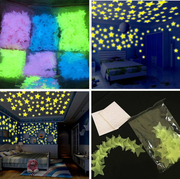 Pack of 100 3D Wall decoration Stickers for room- Fluorescent Night Glowing Stars - Luminous Star Lights - 3cm - Glow in the Dark Stars - Glowing Stars Galaxy Lights For Decorating Rooms - Home Decor - Kids Room - Ceiling & Wall Stickers - Multi color