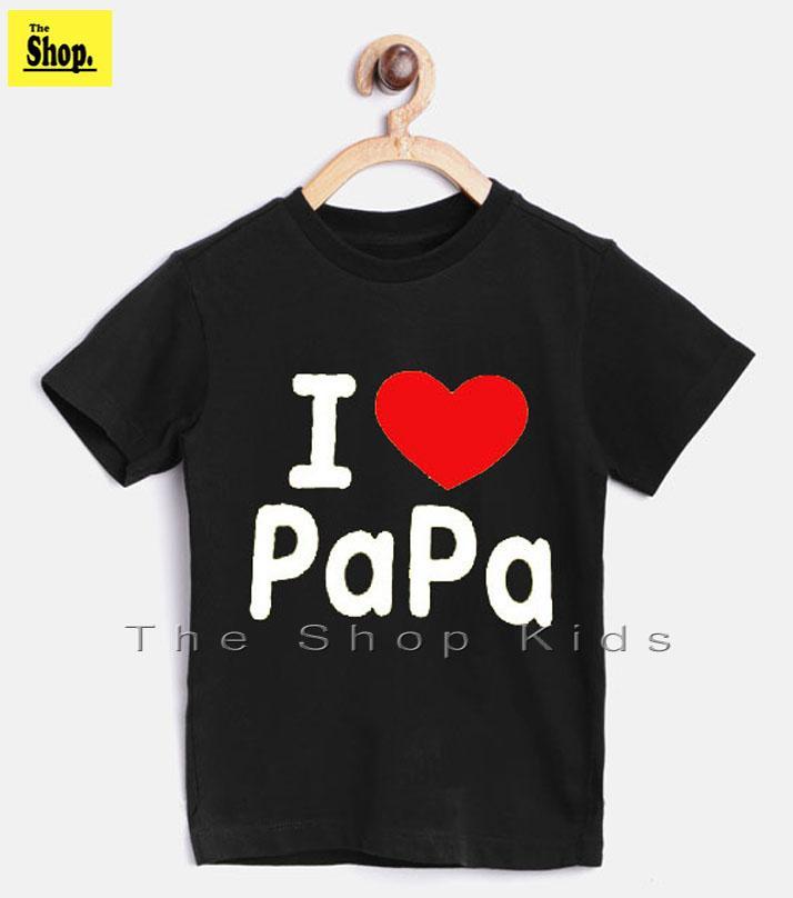 d49d1c44d Black I LOVE PAPA Printed T-Shirt For Kids Boys & Girls - BP-