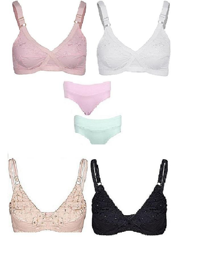 fa3f68b06c Pack of 6 - soft cotton Bras Cotton Panty Cotton Embroidered Bra