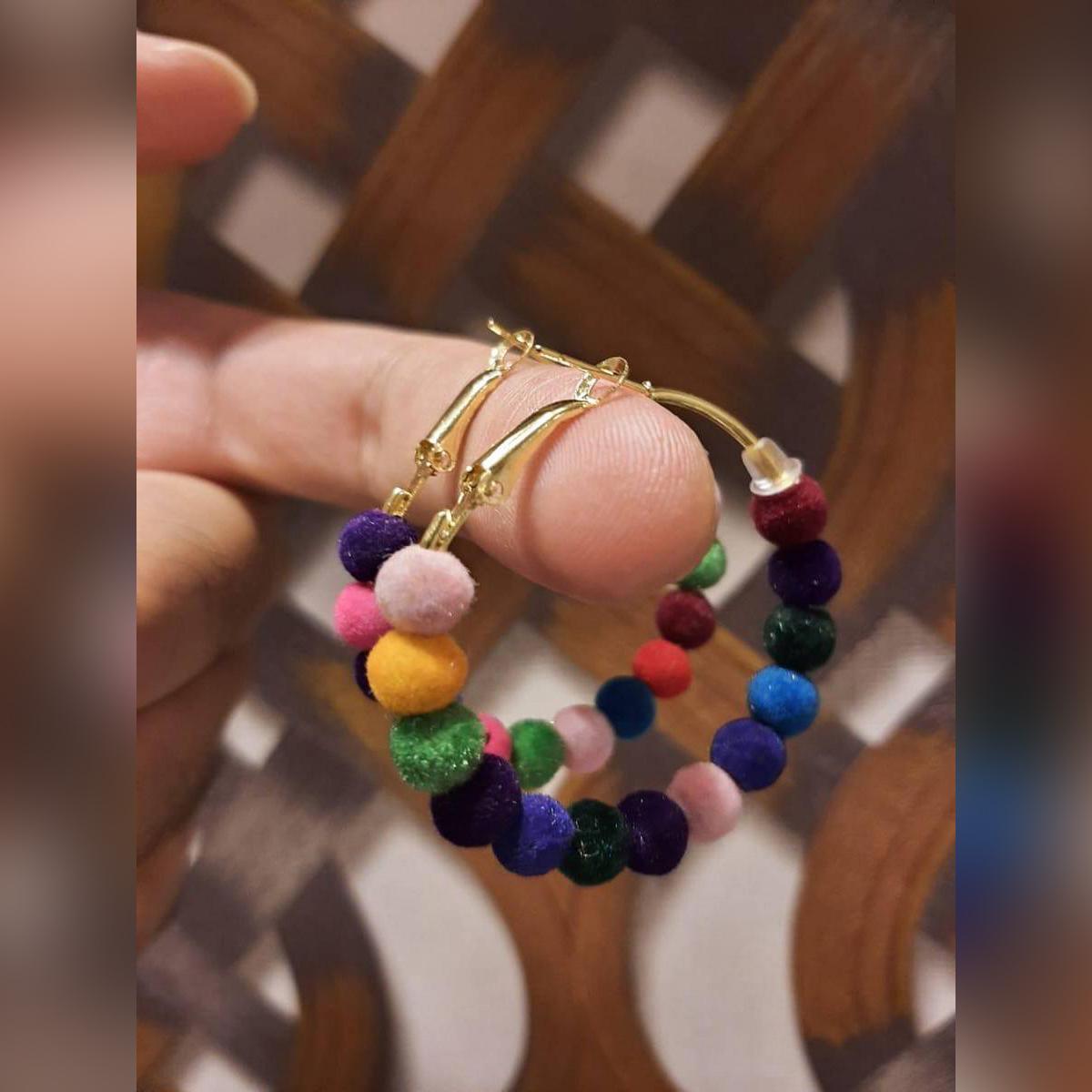 High Quality Delicate Hoop Classy Multi Balls Jhumki Trendy Earring