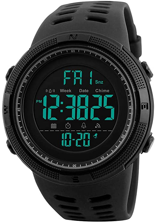Mens Sports Watch Outdoor Sports Watches Multifunction Digital LED Military Dual Time Back Light Stopwatch Waterproof Wristwatches for Man