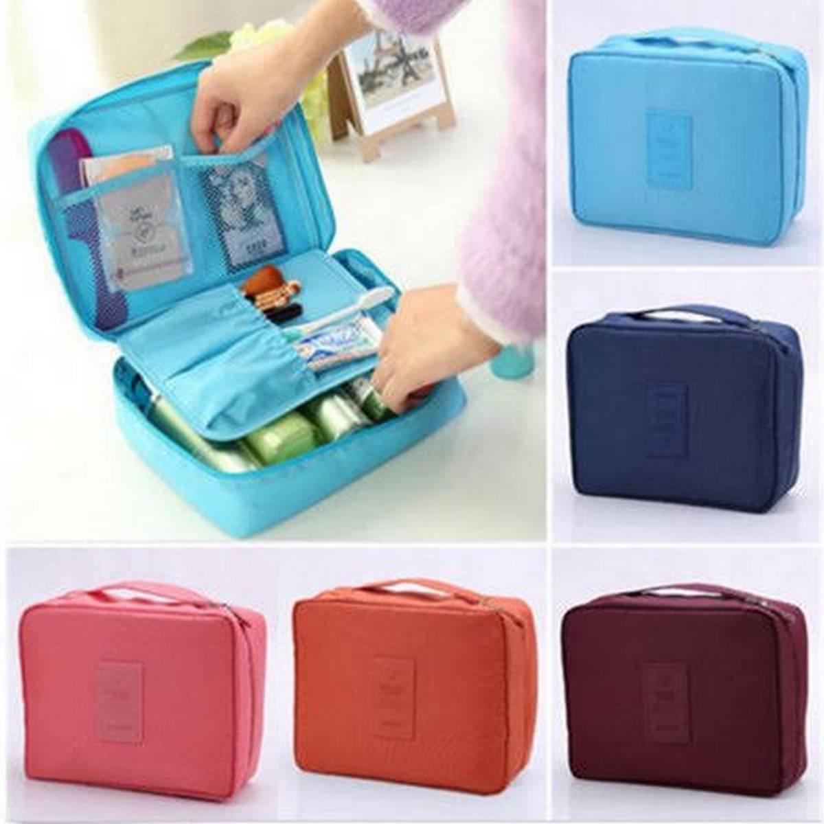 Travel Cosmetic Bag Women Zipper Make Up Bag Polyester High Capacity Makeup Case handbag Organizer Storage Wash Bath Bag