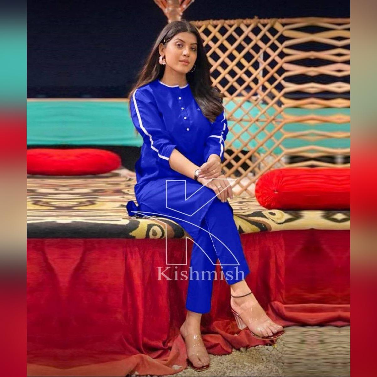 Kishmish Casual Striped Kurti For Girls (Kurti+Trouser) Two Piece/Casual Dresses For Women/Girls