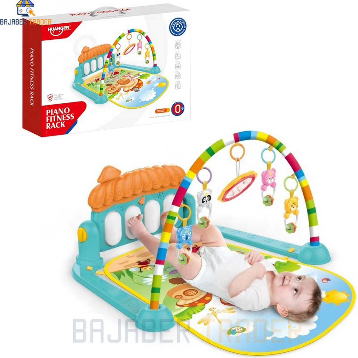 Huanger - 3 In 1 Newborn Baby Toddler Play Gym Piano Fitness Rack Mat