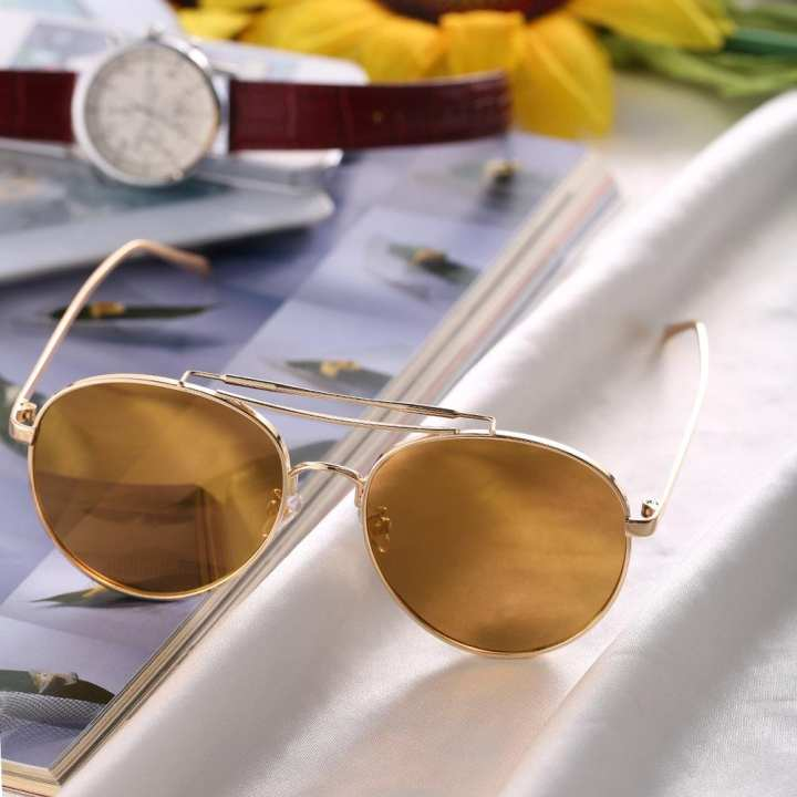 JO Round Stylist Color Film Reflective Fashionable Unisex Sunglasses For Driving - gold rim tan lens 8001