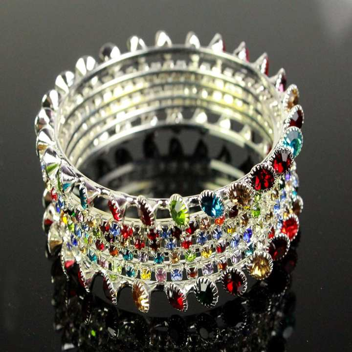Pack Of 4 – Fancy White Bangles With Multi Color Stones