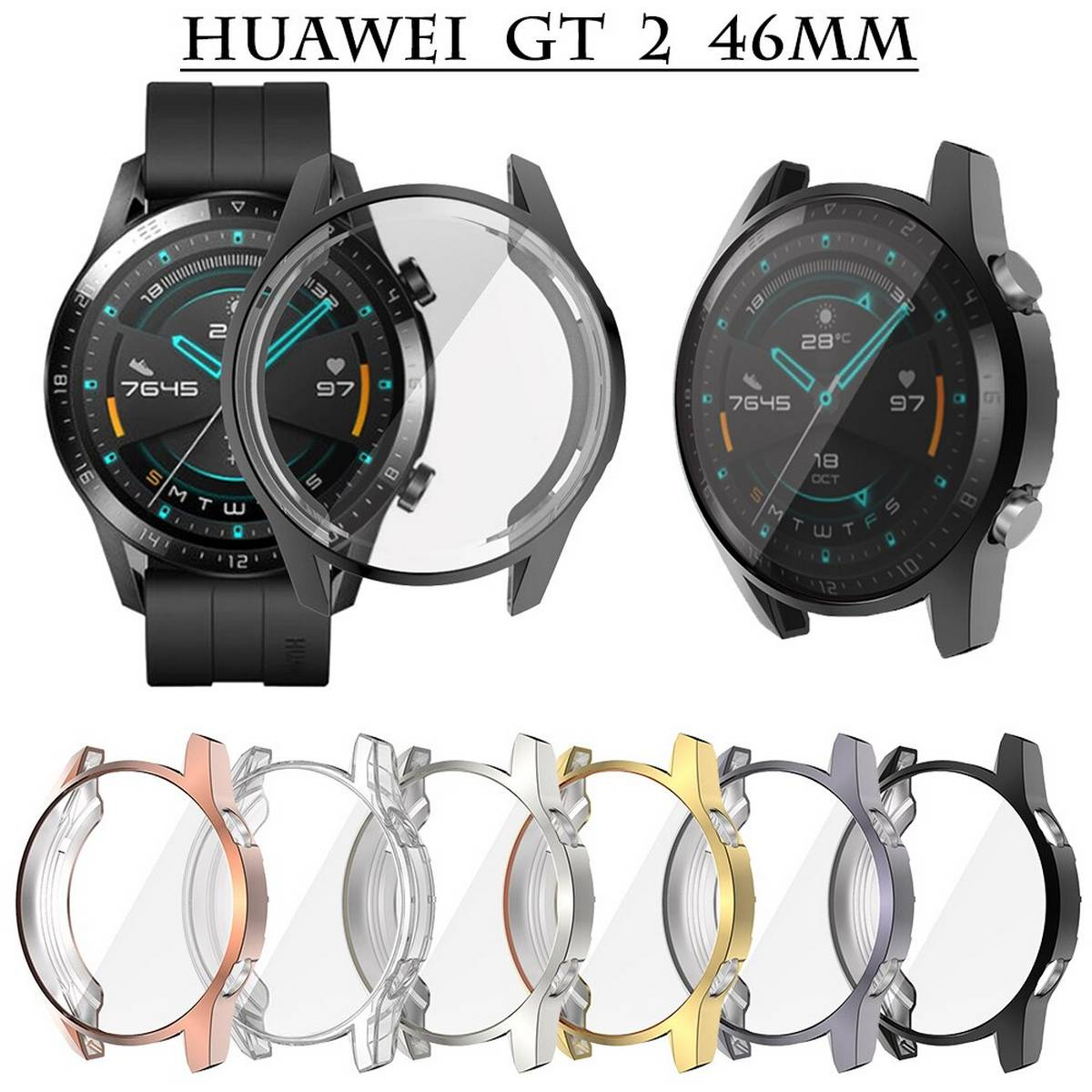 Full Coverage Case for Huawei Watch GT2 46mm Full Cover  , Soft Anti Drop Screen Protector 3 Colors