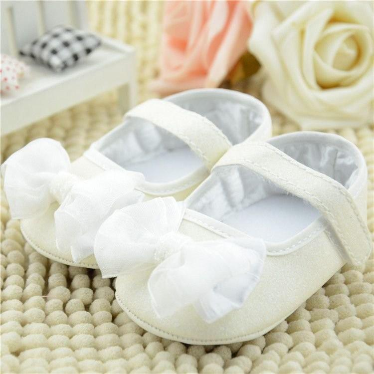 3f72369be05247 Baby Kid Girl Bling Sequin Mary Jane Infant Soft Sole Ribbon Bow Prewalker  Shoes WHITE