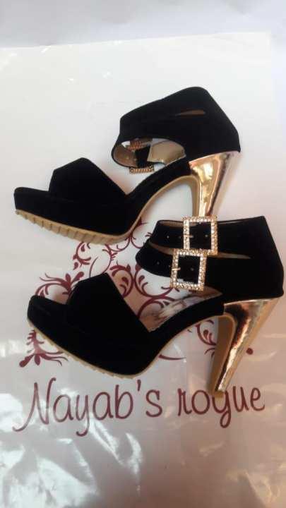 4 inches - Black Velvet Heel For Her - BLACK colour
