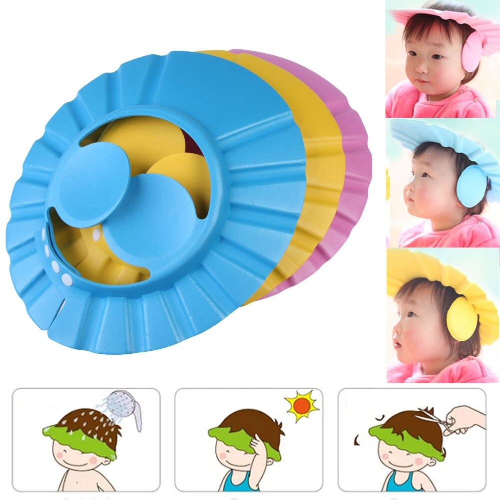 New Cute Adjustable Baby Shampoo Bath Shower Cap With Ear Protection Waterproof toddler Sun Protection Hat  for Washing Hair Visors  For Both Baby Girl And Baby Boy