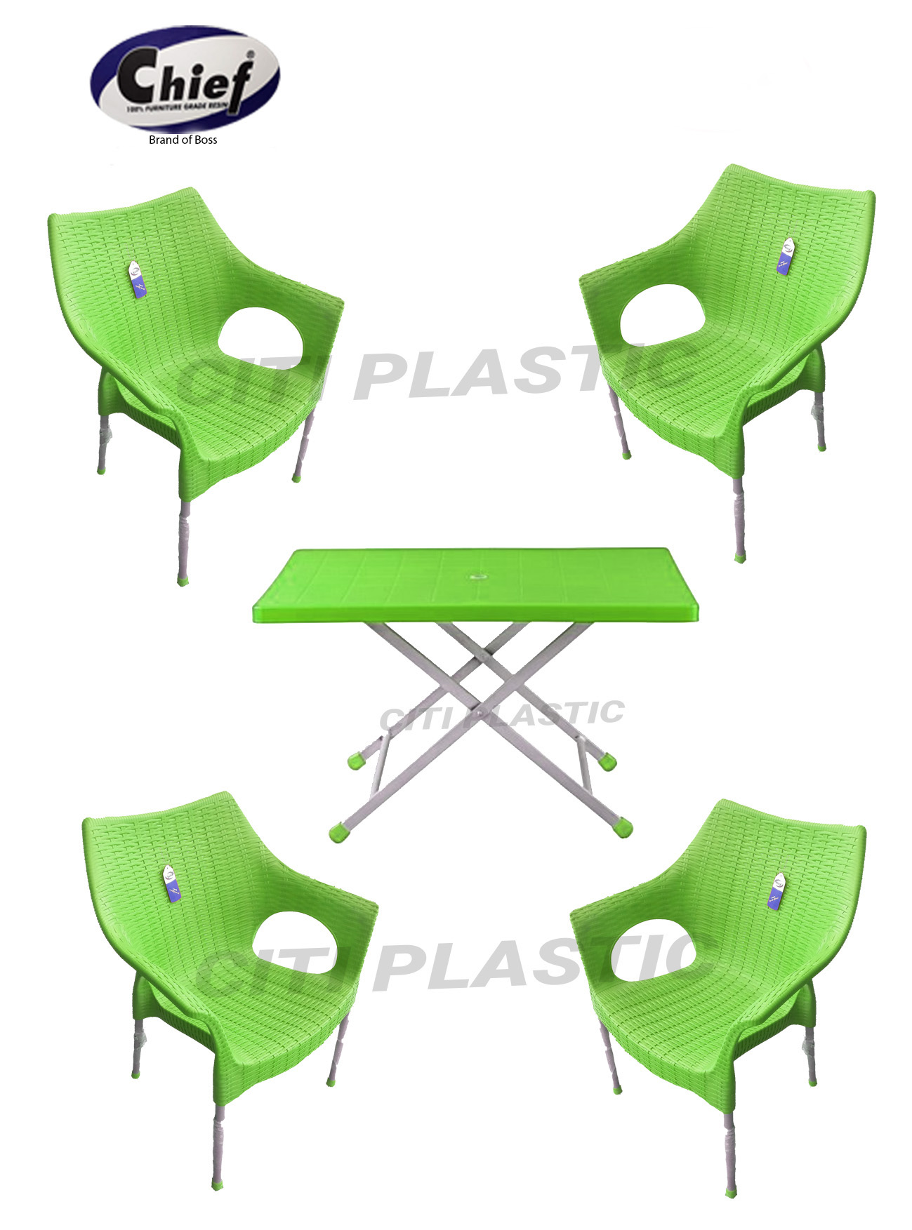 Chief Set Of 10 Rattan Plastic indoor/ outdoor Garden Chairs And Plastic  Table - Green