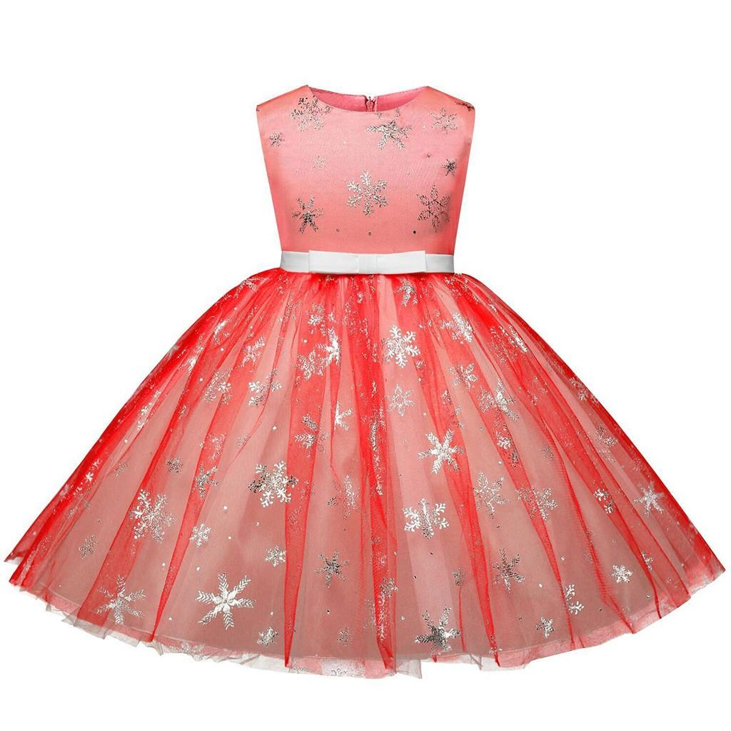 fdf0f86e0 Children Kid Girl Christmas Snowflake PrintPrincess Bling Tutu Dress Clothes
