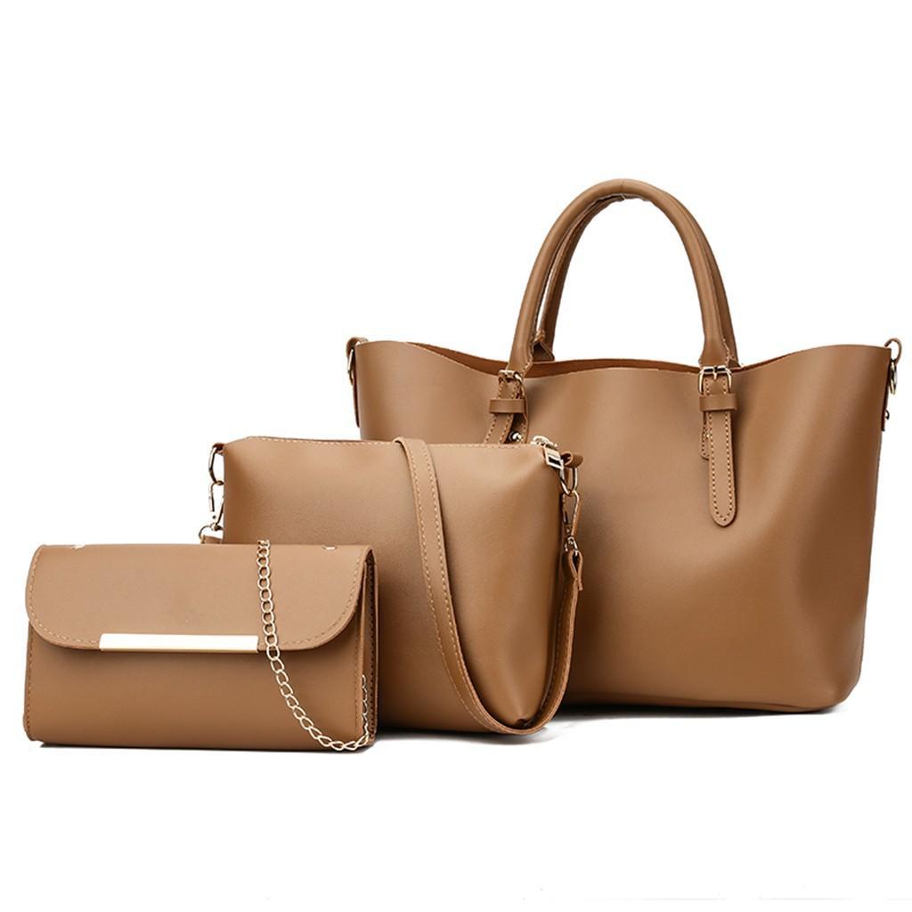 a90b137aa Happydeal 3Pcs Women Ladies Solid Leisure Fashion Messenger Tote Crossbody Handbag  Bags