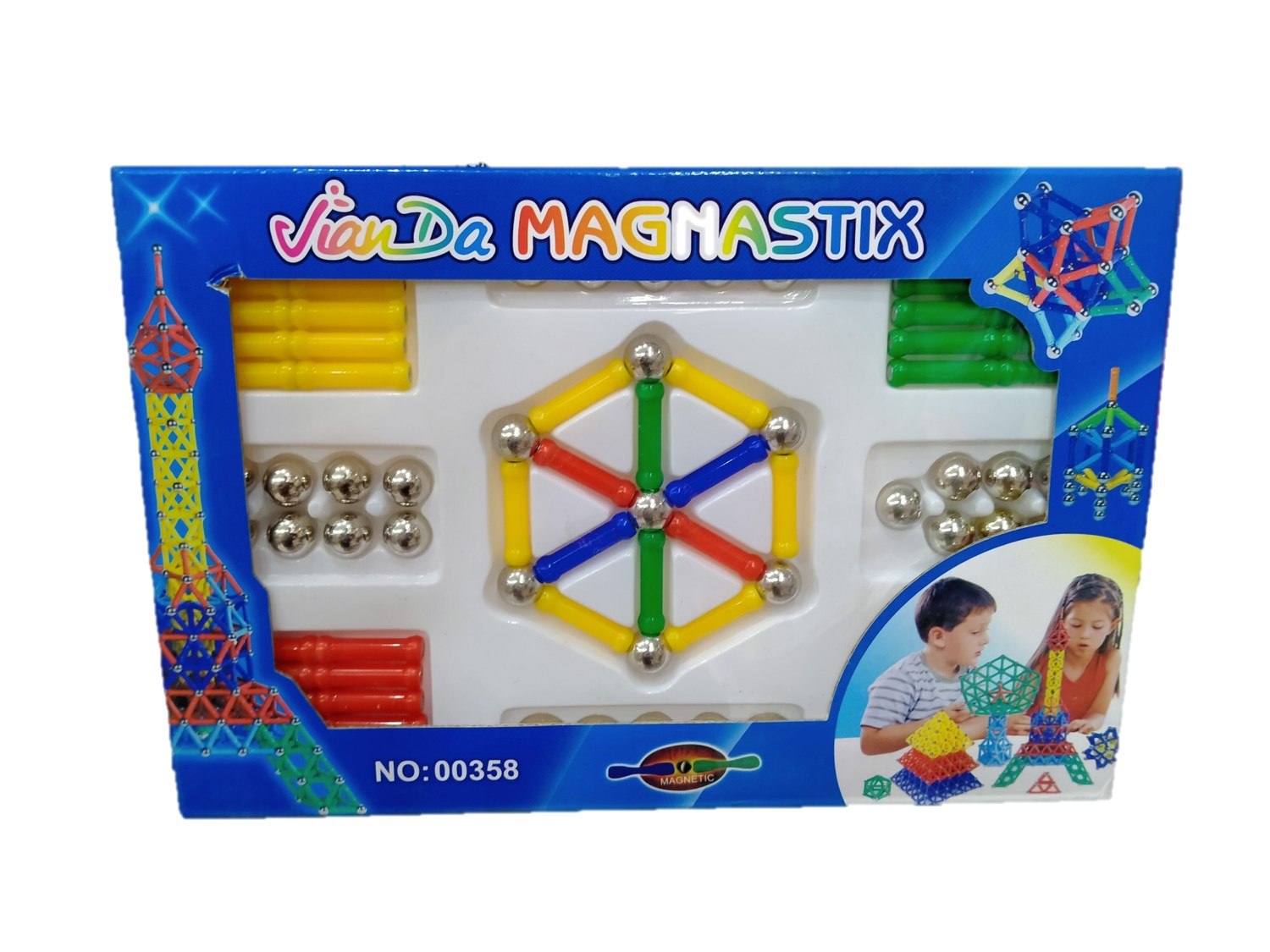 Magnetic Sticks & Ball 84 Pieces Building Blocks Kids Learning Large Game Set