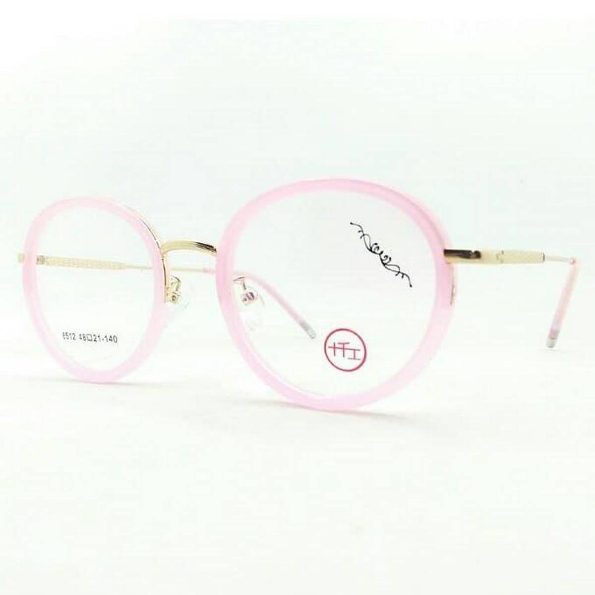 Round Shape Pink&Gold Color Latest Fashion Eyewear Frame For Womens