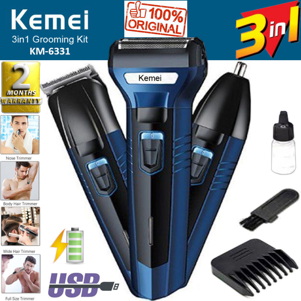 Shaving Machine Kemei Km-6330 3 In 1 Rechargeable Hair Clipper Shaver beard Styling Hair Removal machine for men