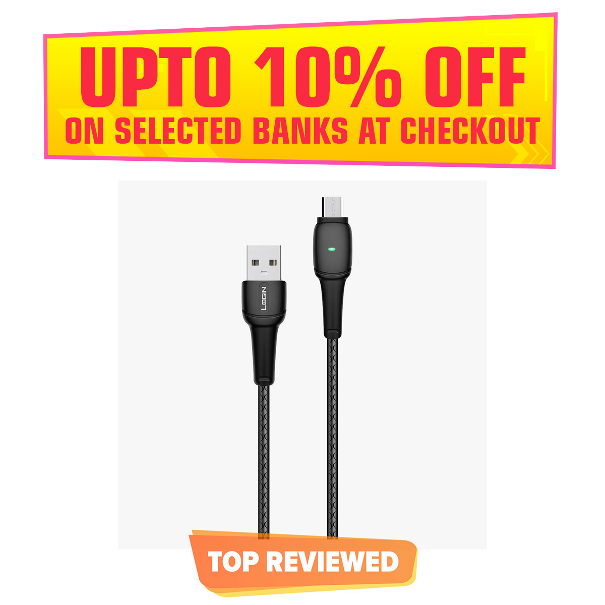 Login Lt- D1 3.1A USB Android Fast Charging + Sync Cable
