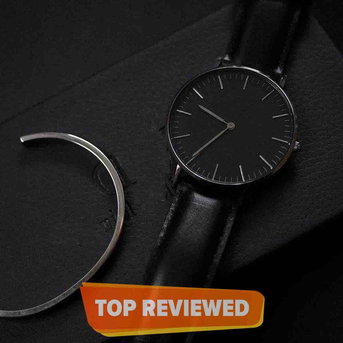 Black Leather Analog Watch For Unisex