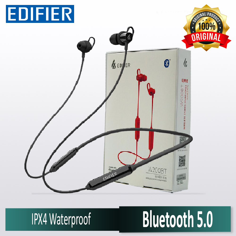 Original Edifier W200BT Bluetooth V5.0 TWS Wireless Magnetic Dual Sports Hanging Neckband Handsfree Earphones with 500mAh Battery 7 hours Play time - Stereo Noise Cancelling Headphones & Mic (Black)
