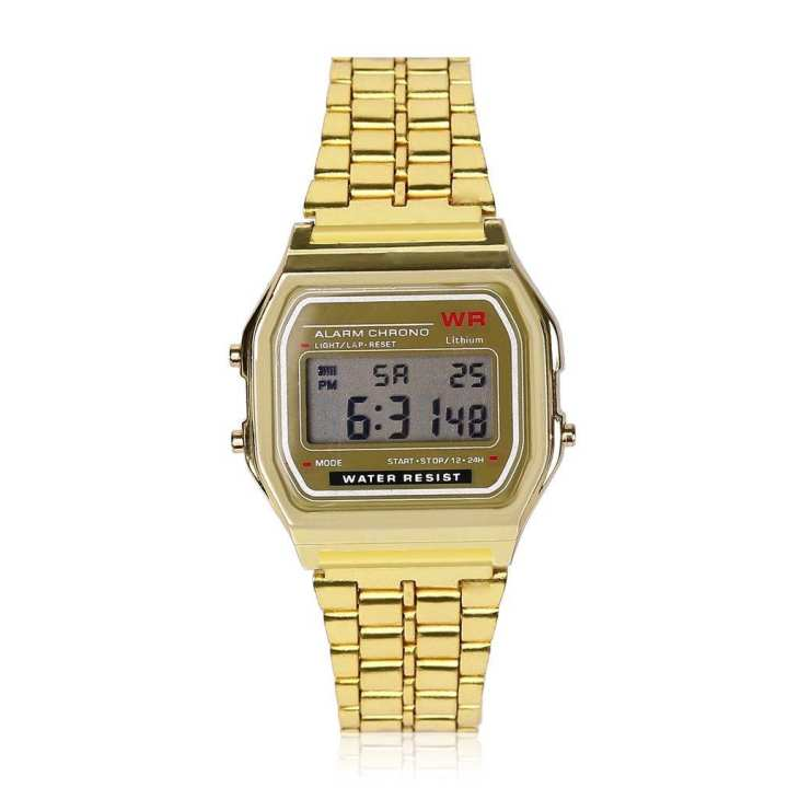 LED Digital Waterproof Quartz Wrist Watch Dress Men Women Golden