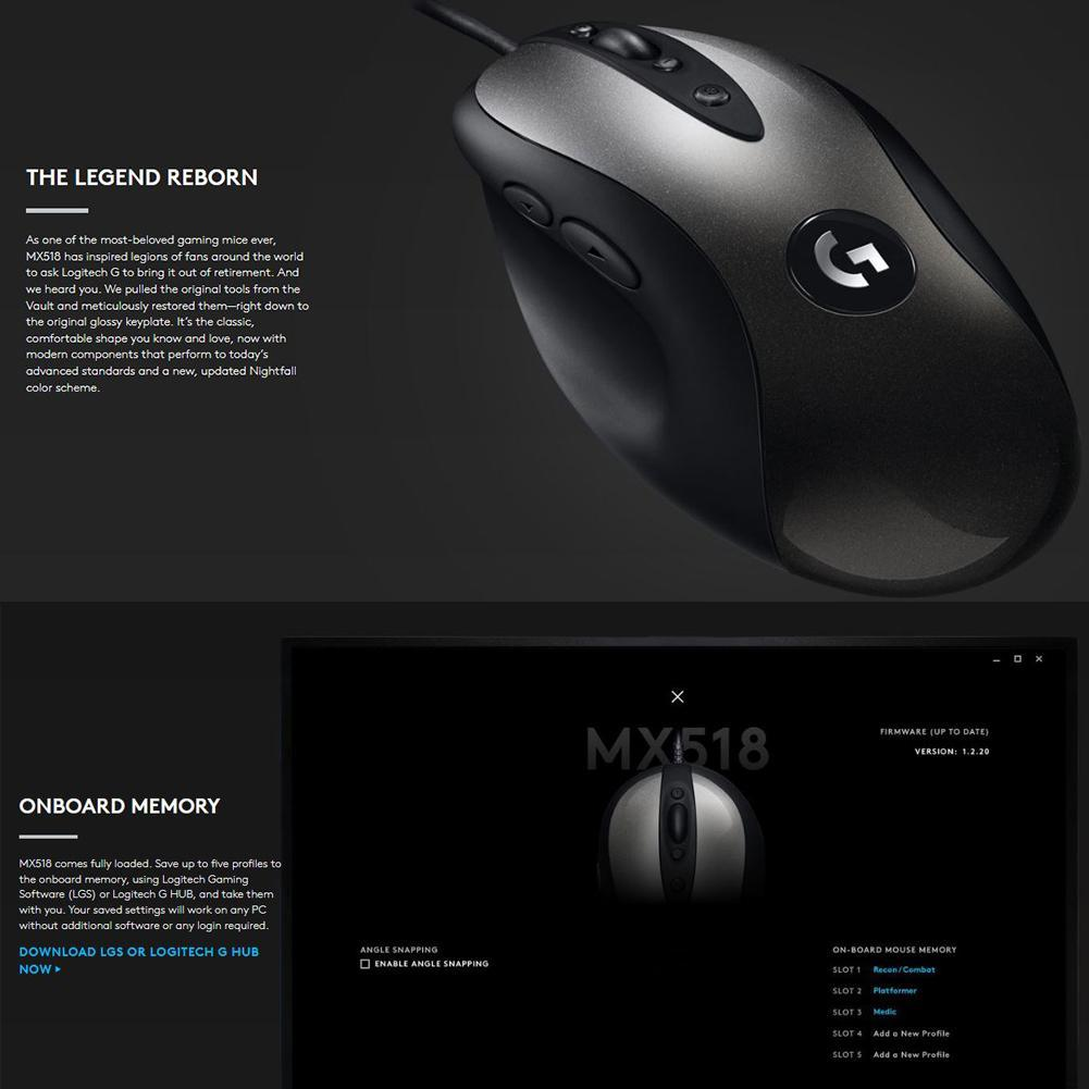 Logitech MX518 Classic Wired Gaming Mouse 16000DPI 8 Programmable Buttons