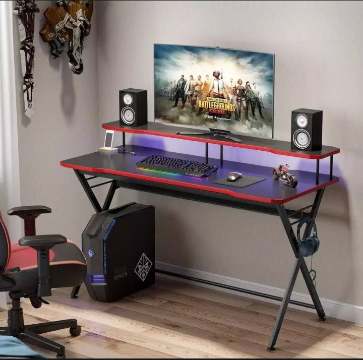 58 inch Large Gaming table' Ergonomic PC Gaming Table Gamer Computer Desk with Monitor Stand and Headphone Holder