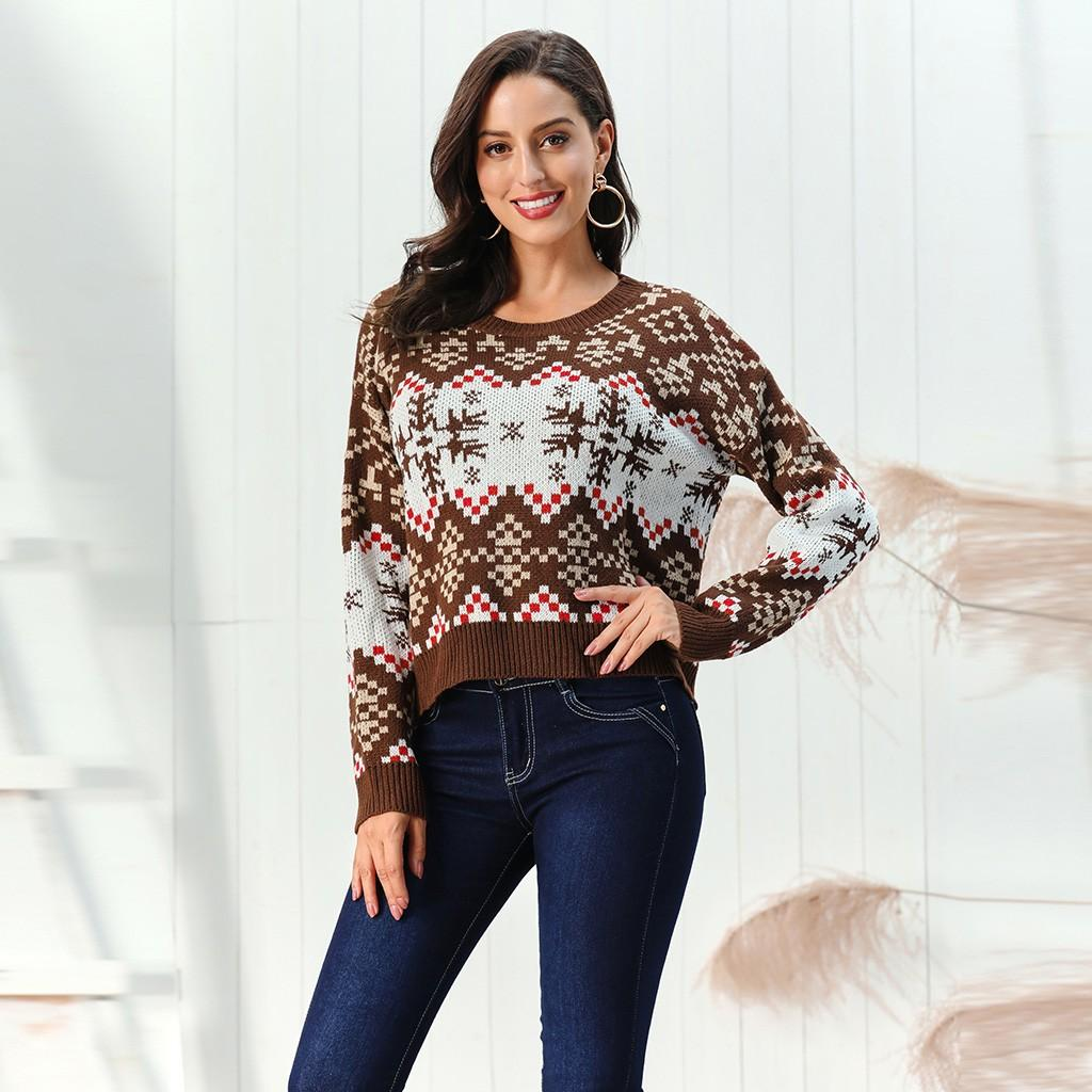 Christmas Geometric Pattern O-Neck Long Sleeve Pullover Snowflake Women Casual Sweaters