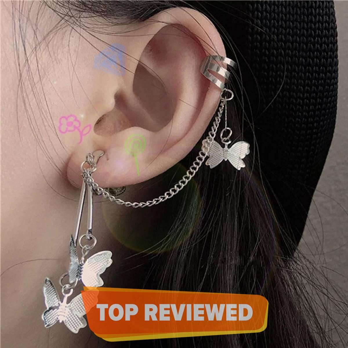earcuff 1pcs left side  Fashion Earrings For Women Butterfly Tassel Chain Ladies Ear Clips Women Girls Earrings Jewelry2