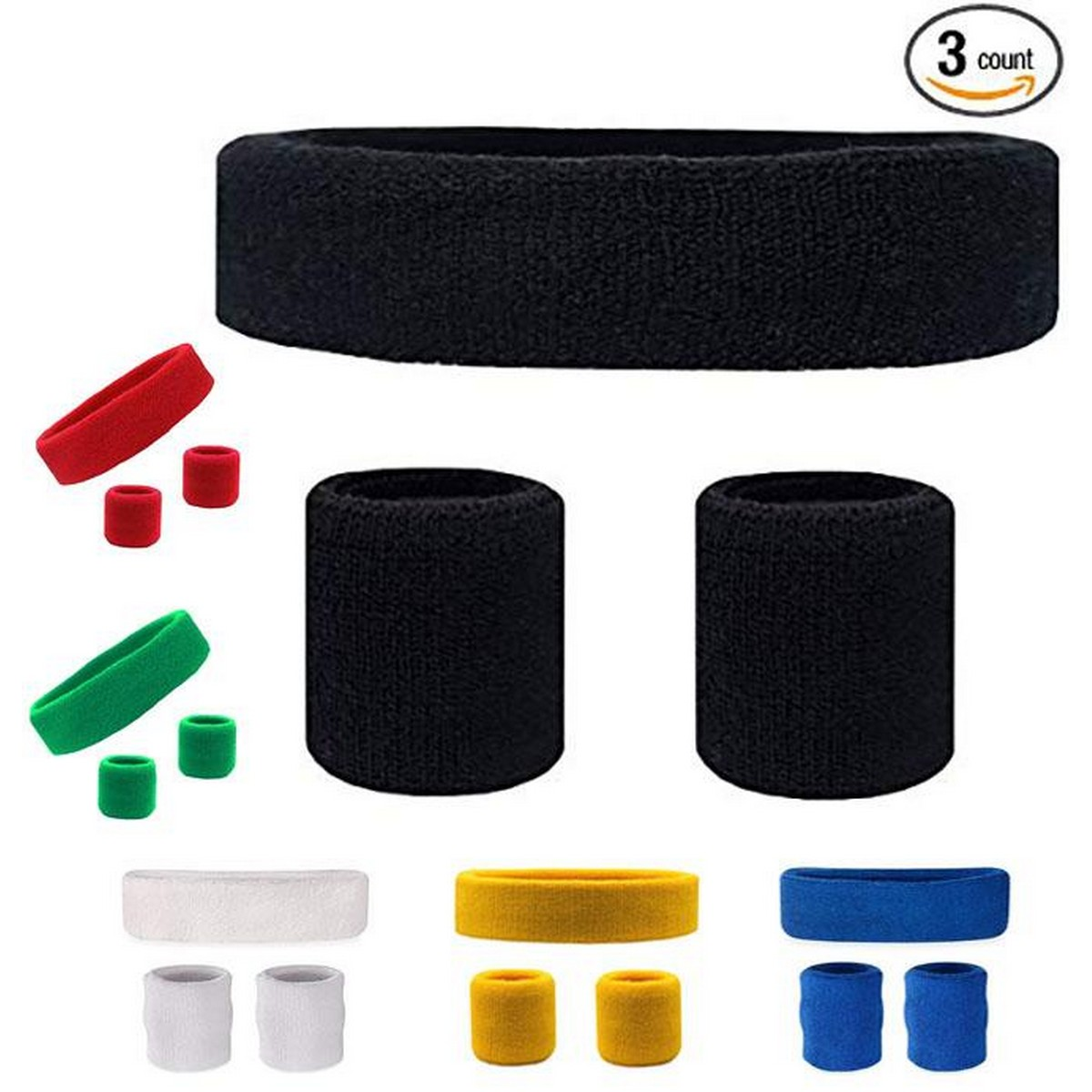 Pack of 3 High Quality Sweat Band for Arms and Head Outdoor Sports Headband Portable Fitness Hair Bands Man Woman Hair Wrap Brace Elastic Cycling Yoga Running Exercising Sweatband Sweatband Elastic Yoga Running Fitness Sweat band Headband Hair Bands