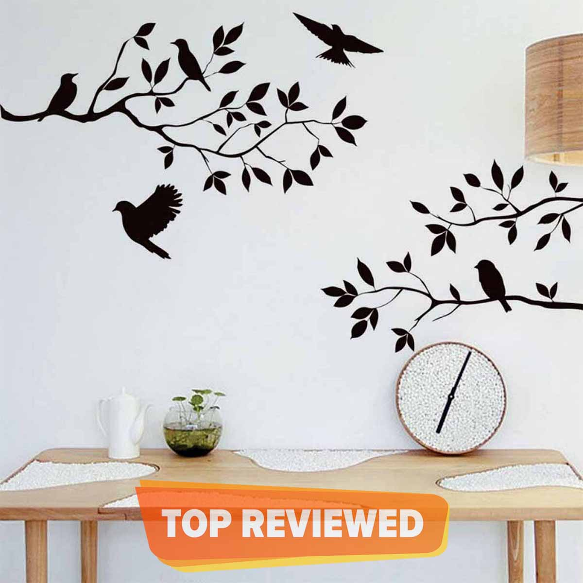 Zecor Gallery Tree with Birds Corner Wall Art Stickers for Living, Self Adhesive Kitchen Tile Sticker