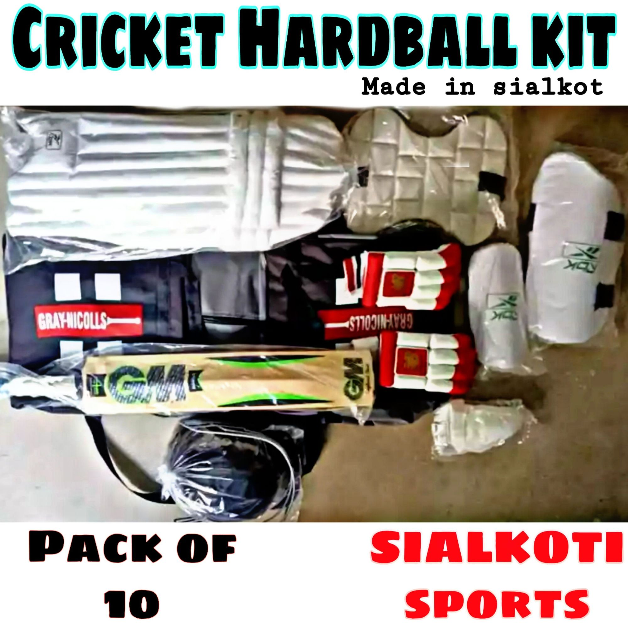 Cricket Hard ball Proffesional Kit (pack of 10) Made in sialkot.